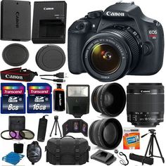 Canon EOS Rebel T5 1200D SLR Camera + 3 Lens 18-55 IS +24GB KIT & More Brand New #Canon