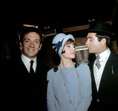 Jean-Pierre Cassel, Françoise Dorléac and Jean-Claude Brialy on the set of Arsène Lupin contre Arsène Lupin, 1962.