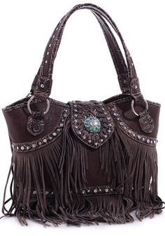 Concealed Carry Western Handbag Purse w/ Fringe & Turquoise Concho | The Wanted Wardrobe Boutique
