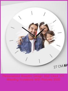 Custom-designed wooden 27cm diameter high quality printed wall clock.#custom #forhim #forher wedding invitations with pictures Personalized Wooden Design Wall Clock 17+ Wedding Invitations With Pictures 2020