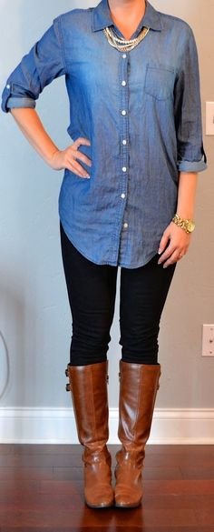 Chambray shirt (Old Navy), Black skinny jeans (Target), Brown boots (Macys)  peral necklace (Ann Taylor)  Michael Kors gold link watch (Nordstrom)comfy and casualmy specialty