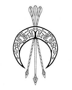 emblem of artemis by artemisi - possible tattoo design but i would get the arrowheads and moon opening facing up - Tattoos Pictures Future Tattoos, Love Tattoos, Beautiful Tattoos, Body Art Tattoos, Tatoos, Artemis Tattoo, Athena Tattoo, Athena Symbol, Aphrodite Tattoo
