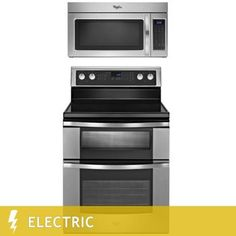Whirlpool® 2-Piece Stainless Steel Kitchen Suite 6.7CuFt Double Oven ELECTRIC Range with 1.7CuFt 1,000 Watt Microwave Hood Combination | WGE555S0BS, WMH31017AS