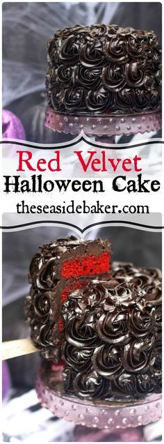 A delicious red velvet Halloween cake that is blood red and topped with black roses will keep the ghouls and goblins happy this year!
