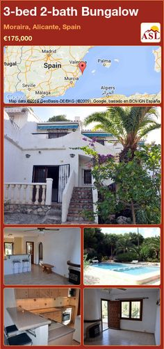 Bungalow for Sale in Moraira, Alicante, Spain with 3 bedrooms, 2 bathrooms - A Spanish Life Bosch Appliances, Moraira, American Kitchen, Bungalows For Sale, Alicante Spain, One Bedroom Apartment, Double Bedroom, Malaga, Second Floor