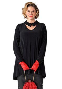 Yoek Damen Übergrößen Langarmshirt mit Öffnung am Ausschnitt Schwarz, 38/40  - Sweartshirt Oberteil