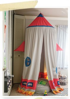 Great boys room with tent. The Land of Nod