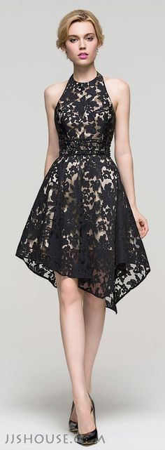 A-Line/Princess Halter Asymmetrical Lace Homecoming Dress With Beading Sequins,97