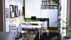 I like the double desks, the covered storage, the color combo, and the rail with buckets for storage