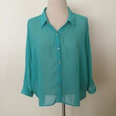 I just discovered this while shopping on Poshmark: teal drape back chiffon blouse. Check it out! Price: $8 Size: XL, listed by renee_krista