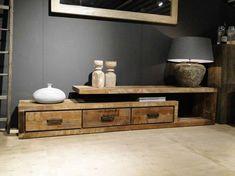 TV-meubel oud hout Orvault   robuustetafels.nl