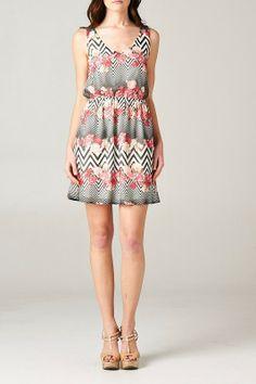 //SWEET RAIN// Floral Chevron Dress
