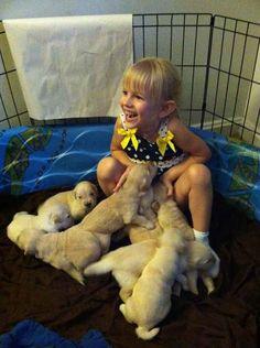 Le moment où cette fillette a décidé de prendre un bain de chiots.