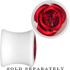 00 Gauge White Acrylic Red Metallic Rose Plug | Body Candy Body Jewelry