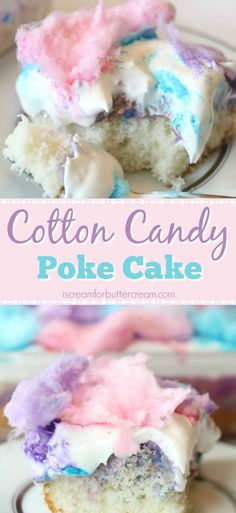 This super easy cake has a light cotton candy flavor plus a colorful white chocolate pudding soaked in, then topped with cool whip and cotton candy.