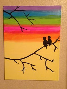 Sunset with tree branches and birds canvas painting