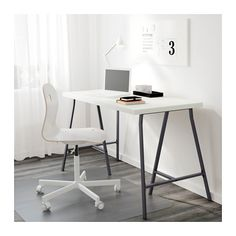 """LERBERG Trestle  - IKEA - 2 tops to make the """"L"""" and 3 legs (spray painted gold) for the base  - follow the hack directions for the L-shaped desk"""