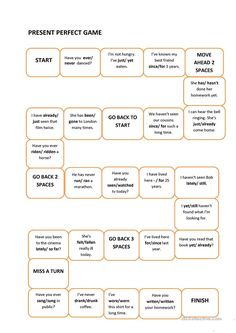 This game is a fun way of repeating the uses of Present Perfect, as well as its form. Grammar: Present perfect tenses; Perfect Tenses, Present Perfect, English Games, Perfect Game, Just Go, Grammar, Best Friends, Presents, Beat Friends