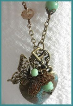 Antique Vintage Brass Butterfly and Heart Locket Necklace | jnldesigns - Jewelry on ArtFire