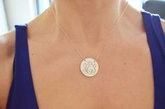 Hey, I found this really awesome Etsy listing at https://www.etsy.com/listing/184333334/sterling-silvermonogram-necklacedisc