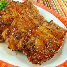 Salt and Pepper Thin Pork Chops marinated in soy sauce and a few other ingredients for up to 24 hrs- pan fry for about 2-3 min per side