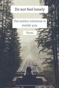 Do not feel lonely, the entire universe is inside you. Rumi quote to make