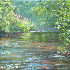 Summer Reflections, Dovedale by British Contemporary Artist Mark PRESTON Great Paintings, Landscape Paintings, Landscapes, Library Art, Spring Painting, Acrylic Painting Techniques, Just Because, Mural Wall Art, Renoir