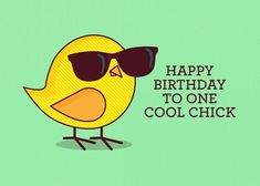 Sunglasses and Birds Birthday Card with your own Handwriting. Tiny Bee Cards for Signed - Card No. 436