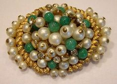 Early Vtg Unsigned Miriam Haskell Pearl Jade Glass Beaded Brooch. Inspirationg www.tanyalochridge.com