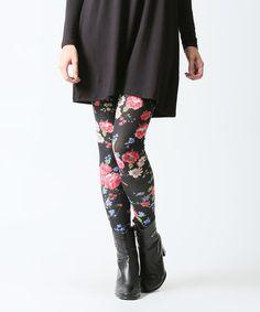 Black & Pink Floral Leggings #zulily #zulilyfinds