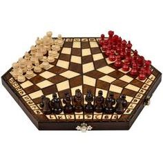 An exotic and unique chess set for 3 players. The chessboard is crafted with beech and birch and its size...