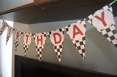 checkered flags banner for a kids bday