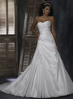 Gorgeous with detachable halter strap A-line Chapel Train bridal gown
