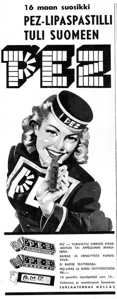 PEZ-mainos Apu-lehdessä 1961