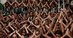 School students pray for rain at a temple in Ahmedabad, India. Ahmedabad, Temple, School, India, Pray, Students, World, Rain, Happiness