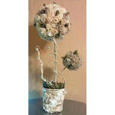 Дерево из атласных и шифоновых лент «Чайная роза»