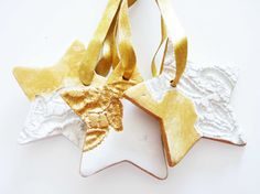 Lace stars Christmas ceramics LaNiqueHOME