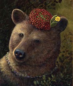 Brown Bear with ladybug pillbox hat Art And Illustration, Illustrations, Animal Paintings, Animal Drawings, Bear Art, Woodland Creatures, Whimsical Art, Lady Bug, Brown Bear