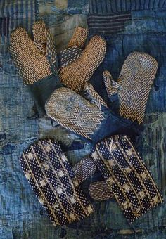 Indigo Sashiko stitched hand guards, apan