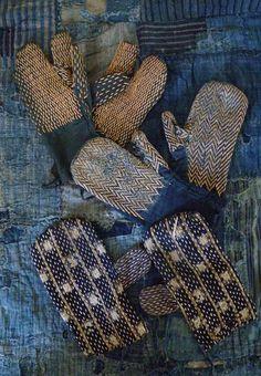 Indigo Sashiko stitched hand guards, apan