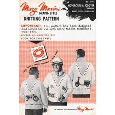Mary Maxim - Motorcycle and Scooter Cardigan Pattern Cardigan Pattern, Pattern Paper, Vintage Patterns, Knitting Patterns, Mary, Motorcycle, Cardigans, Sweaters, Stitch
