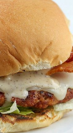 Alabama Smokehouse Burger (includes recipe for Alabama White BBQ Sauce) Amazing Burger, Good Burger, Grilling Recipes, Beef Recipes, Recipies, Hamburger Recipes, White Bbq Sauce, Burger Dogs, State Foods