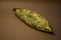 ceramic plate, handmade, leaf