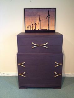 Mid-Century dresser, painted with Annie Sloan Chalk Paint (custom color: Eggplant). Waxed with clear & dark wax. The hardware is great! Sold.