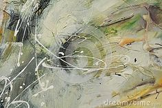 Oil painting with strong brush strokes in beige, cream and green hues.