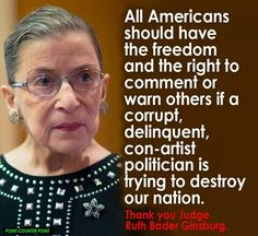 """Unfortunately, her words were not about Hitlery Rottencrotch...she was abusing her """"judicial privilege"""" to slander Mr. Trump. Such unprecedented conduct should be cause for her resignation. Her legal pronouncements have frequently been far removed from the intent of the Founders and the Constitution; """"justices"""" like her play a significant role in the incremental destruction of America."""