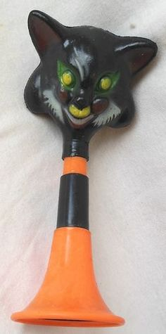 Vintage Halloween Noisemaker ~  Black Cat Horn * Circa, 1960's