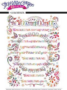 Ten Commandments Print Download by Stephanie Corfee via lilblueboo.com #printable #christianity #quote