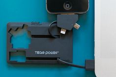 The Tego Audio PowerCard Charger is a credit card sized portable power bank with a 3-in-1 tip that supports the new Apple lightning connector, the older 30-pin connector and the micro-USB connector. GetdatGadget.com