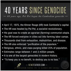 pol pot from he is high on the monster ranking  today is 40 years since pol pot took s capital and started the n genocide